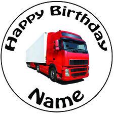 """Personalizado De Cumpleaños camión ambiente Redondo 8"""" fácil Precortada Glaseado Cake Topper"""