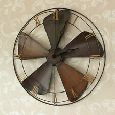 large industrial style metal wood fan wall clock Roman Numeral shabby vintage