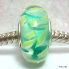 'MINT ZIGGY' Turquoise and Mint Green Murano Glass European Bracelet Charm Bead