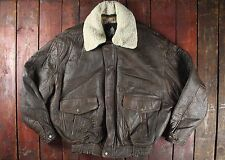 VTG ELVIS PRESLEY BROWN LEATHER BOMBER FLIGHT JACKET W/ FUR COLLAR LARGE