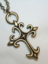 Chunky Brass Fleur de Lis Starburst Cross Necklace
