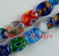 120pcs Millefiori Glass Mixed Oval Spacer Beads 8x10mm P20