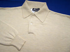 BARNEYS NEW YORK 100% MERINO WOOL POLO SWEATER - NOS - RETRO COLLAR -