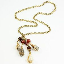 Cadoro Shell Tassel Pendant Necklace Signed VINTAGE Brown Resin Beads Goldtone