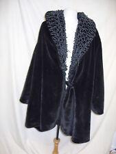 """Ladies Coat - Fabiana Ferri, Chest 46"""", Black, Velvet look, unusual collar- 2291"""