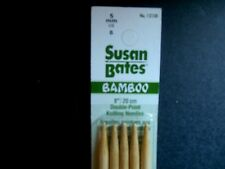 """Susan Bates  8"""" Double Point BAMBOO Kniting Needles  Size 8 (5mm)"""