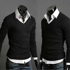 Men's V Neck Soft Knitwear Jumper Plain Sweater Pullover Bottoming Shirts Tops