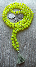 Green Fluorescent 6MM Hand Knotted Illuminating Mala Beads Necklace - Energized