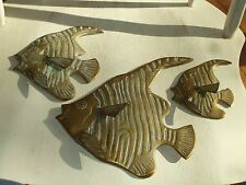 "3 Brass Metal  Angel Fish Wall Plaques Large 9"" beauties.  #880"