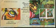 India 2011 Children´s Day Paintings Tiger Cub Animals Wild Life M/s on FDC
