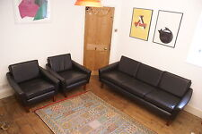 Danish Leather Sofa and arm chairs with teak legs- Danish Borge Mogensen style