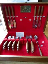 25  pc Vintage MCM DANSK FJORD Flatware Stainless Danish TEAK Germany Quistgaard