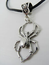 Spider Pewter Pendant on Leather Necklace, Gothic Cute