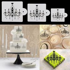 3Pcs Chandelier Cake Cookie Fondant Side Baking Stencil Wedding Decorating Tool