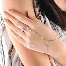 Fashion cubic zirconia hand chain bracelet ring Adjustable palm bracelet Gift