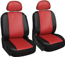 Faux Leather Black Red Seat Cover 6pc for Honda Civic w/Detachable Head Rests