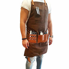 Proffecional Barber Apron Hand Made Waxed Canvas Chocolate Brown