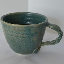 Art Pottery Mug Hand Thrown Stoneware Rustic Primative Green Blue Coffee Tea Cup
