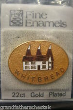 GUINNESS 22KT GOLD PLATED WHITBREAD BREWERY NEW TIE PIN FISH BADGE ENAMEL BNIB