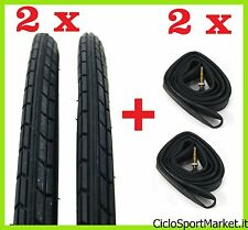 "2 x Tyres + 2 x Inner tubes for bicycle bike / Size 26"" x 1 3/8 NERO"