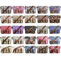 Ladies Large Shoulder Bag Satchel Butterfly Polka Dot Flower A4 School Crossbody