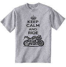 APRILIA RS4125 2012 KEEP CALM P - NEW COTTON GREY TSHIRT - ALL SIZES IN STOCK