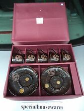 5 Oriental Handled Cups with 5 Saucers Set Brown Porcelain NIB Chinese Dinner