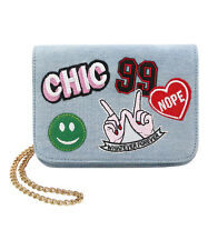 Olivia Miller Audra Chic Patch Emoji Light Denim Crossbody Bag Purse New !!!
