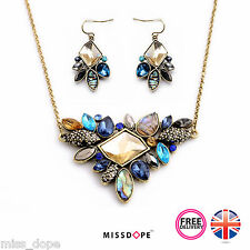 NEW Rhinestone Earring & Necklace Set Gold Vintage Womens Bohemian Aztec UK
