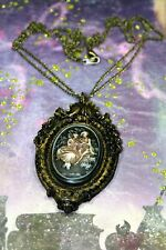 The Lovers Necklace Handpainted OOAK Cameo Double Strand Layers Valentine Day