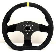 Sport Line Racing Steering Wheel 330mm Runner Black Suede Yellow Stripe 20126/S