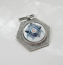 Antique Fine Silver & Enamel Masonic Pocket Watch Chain Fob Hallmarked