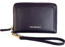 NEW VERA BRADLEY  GRAB AND GO BLACK LEATHER WRISTLET