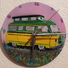 BEDFORD CF . MORRIS camper van clock.classic motorhome.hand painted on 7in vinyl