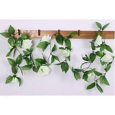 2,4m Falso Guirnalda Rosa Seda Flor Ratán Hiedra De Viña Jardín Hogar Decoración