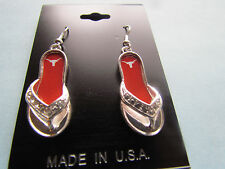 TEXAS LONGHORNS  FLIP FLOP HOOK EARRINGS  NEW