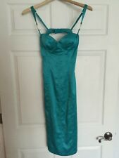 Guess By Marciano Bustier Lace Corset Teal Blue Silk Dress Size XS 0 Rhinestones