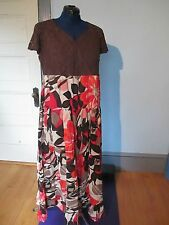 LA CERA New~ Long 100% Cotton DRESS Size XL brown red orange NWT India