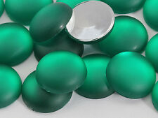 15mm Green Emerald H506 Flat Back Frosted Acrylic Round Cabochons 25 PCS