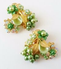 Vintage Beaujewels Clip on Earrings Rhinestones Aurora Borealis Beads Pearls