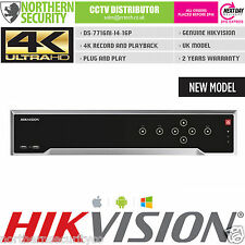 4K UHD H.265 HIKVISION 16 CHANNEL 16POE NETWORK RECORDER NVR SMART VCA 256MB P2P