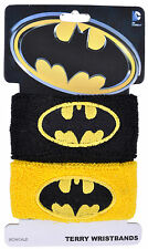 Batman Terry Wristband Black Yellow DC Comic Dark Knight Hand Authentic Mens