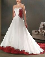 White/Ivory and red satin embroidery Wedding Dress bridal Prom gown custom size