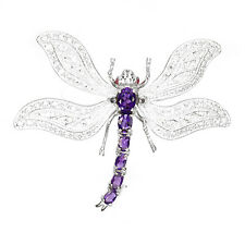 Strling Silver 925 Large Genuine Natural Purple Amethyst Dragonfly Brooch