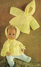 "Dolls clothes knitting pattern  for a 14"" Baby doll. Laminated copy.(V Doll 148)"