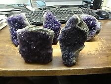 LOT OF 5 SMALLER SIZE AMETHYST CRYSTAL CLUSTERS  GEODE CATHEDRAL FROM URUGUAY;