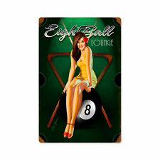 Eight Ball Billard Pool Poolbillard Pin Up Art Retro Sign Blechschild Schild NEU
