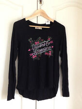 Hollister Women T-shirt M Graphic Black Pink Floral Long Sleeve Slub Back Seam