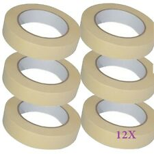12 X MASKING TAPE For Home DIY or the bodyshop 25mmx 50m Protects masked surface