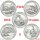 2014 P&D&S NATIONAL PARK QUARTERS COMPLETE 15 COIN SET UNCIRCULATED MINT